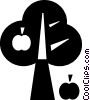 Vector Clipart image  of an apple tree