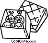 Vector Clipart illustration  of a box of Christmas decorations