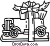 antique car wrapped as a present Vector Clip Art picture