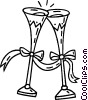 Vector Clip Art graphic  of a glasses of champagne