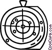 Vector Clip Art image  of a target with bullet holes in it