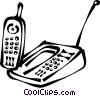 Vector Clipart graphic  of a cordless phones