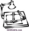 Vector Clipart graphic  of a drafting table with a light