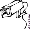 Vector Clip Art graphic  of a surveillance cameras