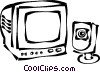 monitor with computer video camera Vector Clip Art graphic