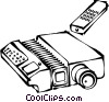 Vector Clip Art image  of a slide projector with a remote