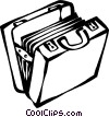 briefcase full of files Vector Clipart graphic