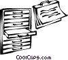 Vector Clip Art graphic  of a file folders in filing cabinet
