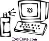 Vector Clipart image  of a computer bug and spray can