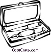 Vector Clip Art picture  of a fountain pen set in a box