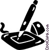 Vector Clipart illustration  of a pen on a computer sketching