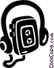 Vector Clip Art graphic  of a personal stereo