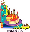 Vector Clip Art graphic  of a birthday cake with candles