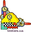 Vector Clipart illustration  of a wristwatches and mantle clocks