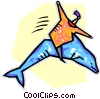 Vector Clip Art picture  of a person riding a dolphin