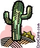 Vector Clipart graphic  of a cactus in the desert