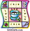 Vector Clip Art graphic  of a coffee cup, coffee bean, sugar