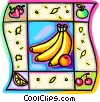 Fruit bananas, strawberries, cherries, apple, and lemon Vector Clip Art graphic