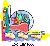 Vector Clipart picture  of a Supper time with salmon