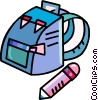Vector Clipart image  of a nap sack and pencil