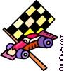 Vector Clip Art image  of a checkered flags and race cars