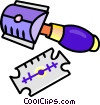 Vector Clipart illustration  of a razor with blades