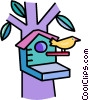 Vector Clip Art image  of a bird living in a birdhouse