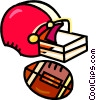 football helmet and football Vector Clip Art graphic