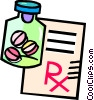 Vector Clipart illustration  of a pills and prescriptions