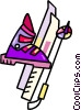 Vector Clip Art graphic  of a downhill skiing equipment