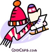 hat, mitts, scarf, and skates Vector Clipart image