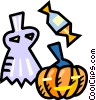 Halloween costume with a pumpkin and candy Vector Clipart picture