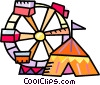Ferris wheel and a circus tent Vector Clip Art image