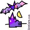 Vector Clipart graphic  of a vampire bat with a haunted