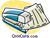 stapler with pieces of paper Vector Clip Art graphic