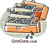 Vector Clipart illustration  of a Toolbox with nuts and bolts