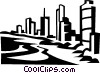 Vector Clip Art graphic  of a ocean front hotels