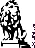 Vector Clip Art picture  of a statue of a lion