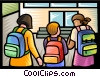 Vector Clipart graphic  of a school kids