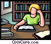 Vector Clip Art graphic  of a student studying in library