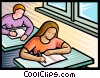 Vector Clip Art graphic  of a student in class doing seat