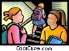 students having a conversation in school hallway Vector Clip Art image