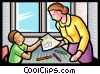 Vector Clip Art picture  of a student showing teacher his
