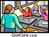 student with hands raised in class Vector Clip Art picture