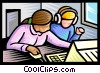 Vector Clip Art graphic  of a students working on a computer