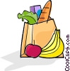 Vector Clipart image  of a bag of groceries