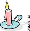 Vector Clipart image  of a candle with a candle holder