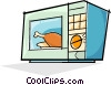 Vector Clipart picture  of a microwave oven cooking food