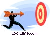 Vector Clip Art image  of a businessman shooting arrow at