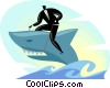 Vector Clipart graphic  of a Businessman riding great white